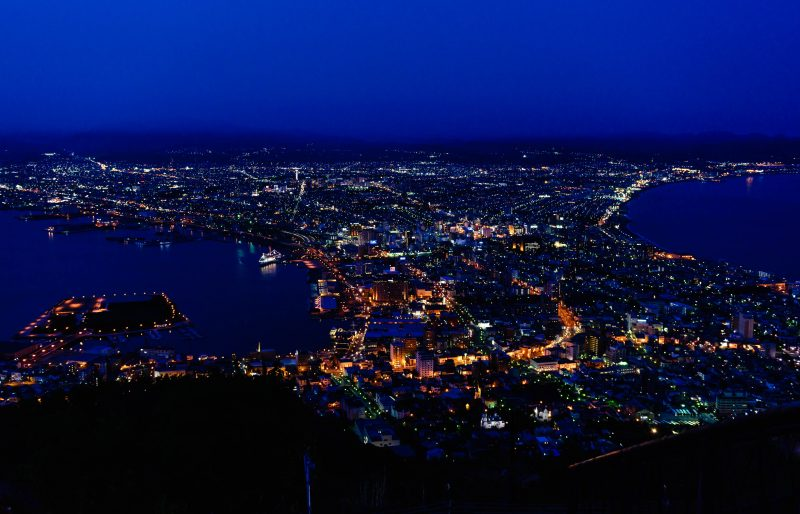 Hakodate view from Mt. Hakodate just past dusk, a beautiful night scene in Hokkaido Japan